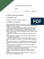 Evaluación Inicial 4 Años Comunicación Lingüística 1