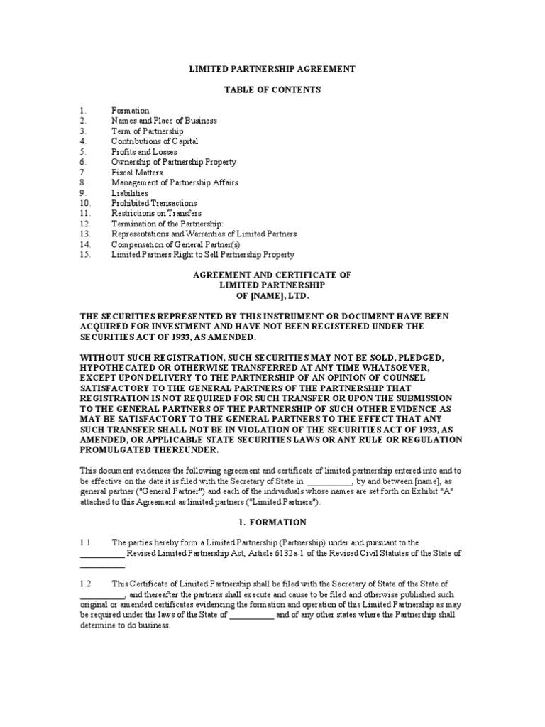 Limited partnership agreement general partnership partnership xflitez Images