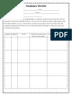 vocabulary enricher role sheet