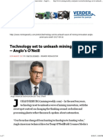 Mining Weekly - Technology Set to Unleash Mining Innovation – Anglo's O'Neill