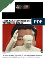 China Pushes Race Based Narcissistic Nationalism