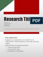 Research Presentation Format. Final Defense