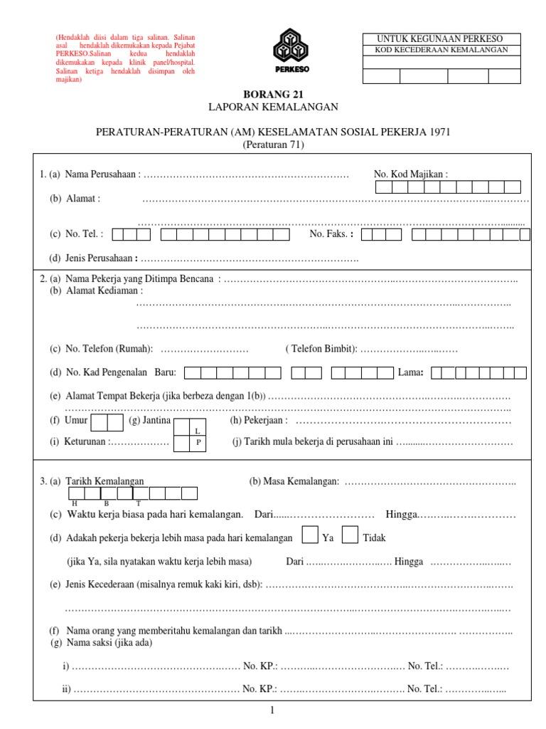 Socso Laporan Kemalangan Borang21 Pdf