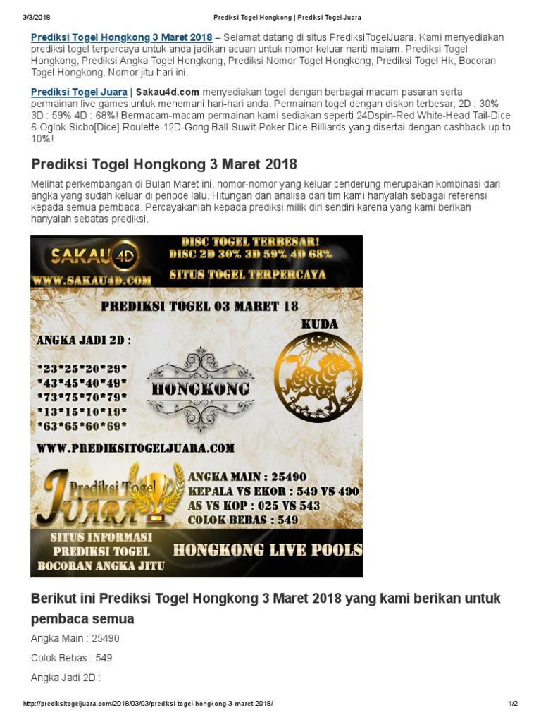 Prediksi Togel Hongkong 3 Maret 2018
