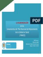 La Humanización en Los Lineamientos PNMCS