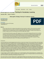 Metacognitive Strategy Training for Vocabulary Learning