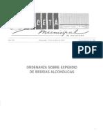 Ordenanza Sobre Expendio de Bebidas Alcoholicas 19-10-2007 Zulia