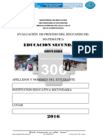 Evaluación de Proceso Ece 2016 Matematica Quinto Grado