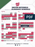 2018 Nationals Preliminary Schedule