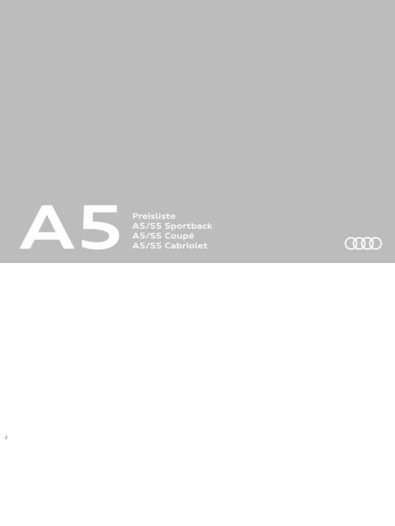 Audi A5 Coupe A5 Sportback A5 Cabriolet Preisliste 12 2016 Web