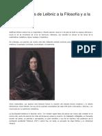 6 Aportaciones de Leibniz a La Filosofía y a La Sociedad