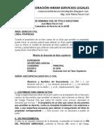 Modelo de Demanda Civil de Título Supletorio - Autor José María Pacori Cari