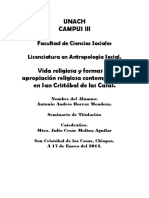 Vida y Apropiacion Religiosa en Los Altos de Chiapas