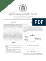 Calor de Reacción en Solución - Informe