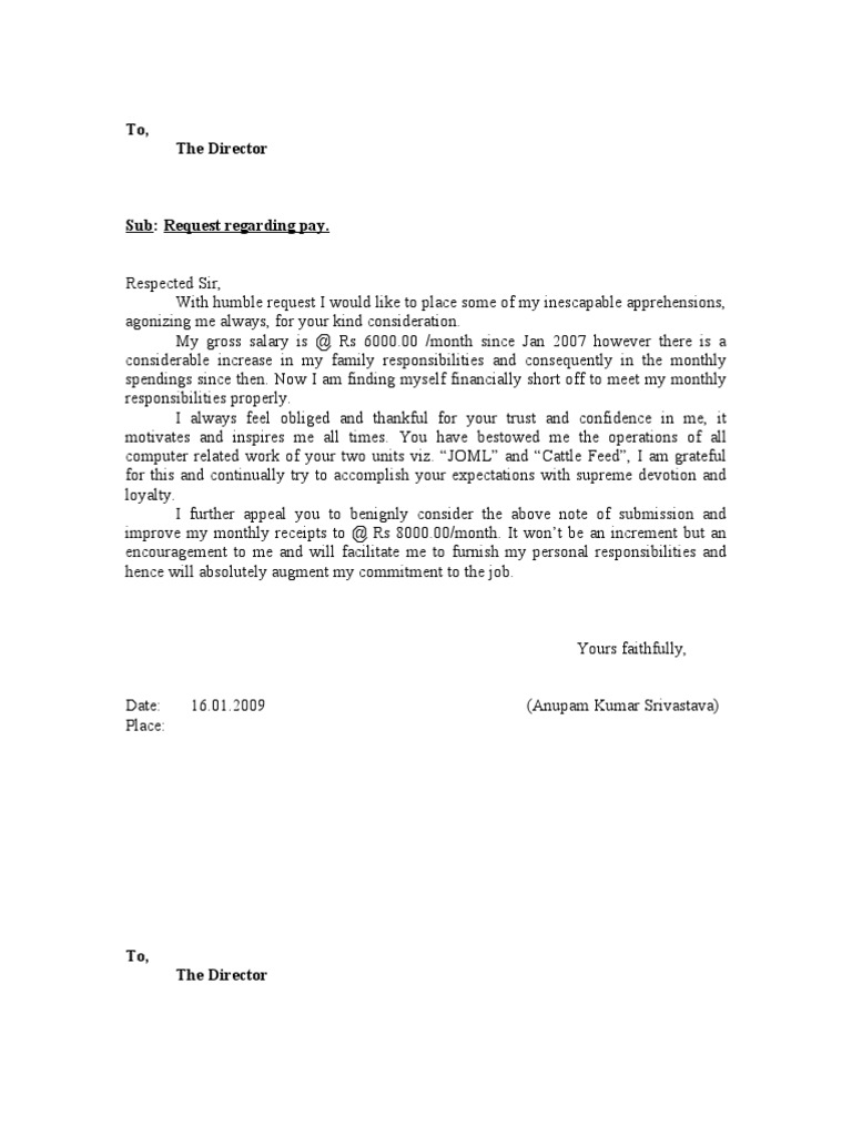 Increment Letter 1 – Request for Increment Letter