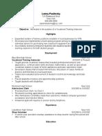 Vocational Training Instructor Resume Sample 1