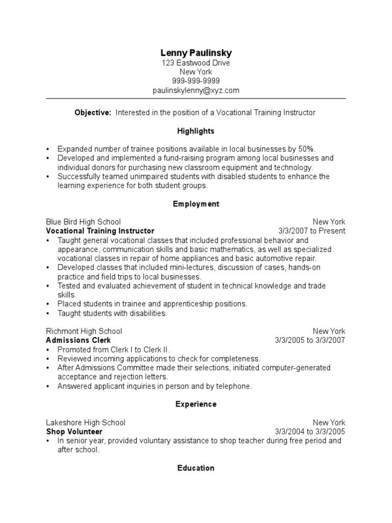 Vocational Training Instructor Resume Sample 1 | Vocational