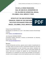Efectos de la Crisis Financiera Internacional de 2008 en el Desempeño de las Bolsas de Valores de Argentina, Brasil, Colombia, Chile, México y Perú