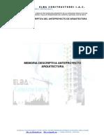 Memoria Descriptiva Del Anteproyecto de Arquitectura