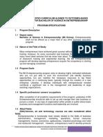 Sample Curricula Bachelor of Science in Entrepreneurship