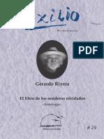 """""""El libro de los senderos olvidados"""". Gerardo Rivera. Antología. EXILIO No. 29"""