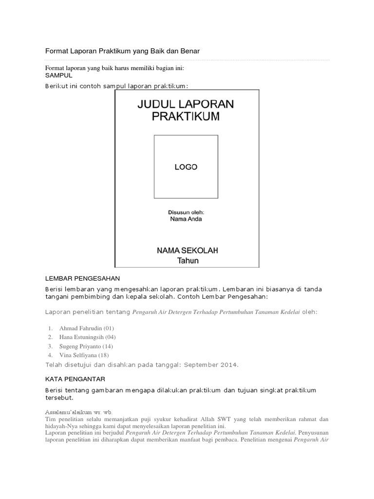 Format Laporan Praktikum Yang Baik Dan Benar