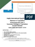 Diploma Transl Unit 3 Paper DATIA02 1314 Answer Booklet