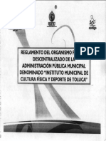 Reglamento Del Organismo Público Descentralizado IMCUFIDET