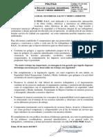 Pl-gg-001 Politica de Calidad%2c Seguridad%2c Salud y Medio Ambiente