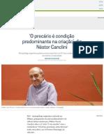 'O precário é condição predominante na criação', diz Néstor Canclini - Jornal O Globo.pdf