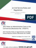 Updates on Civil Service Rules Regulations Atty KA Escudero III