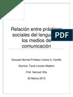Relación Entre Prácticas Sociales Del Lenguaje y Los Medios de Comunicación ENSAYO