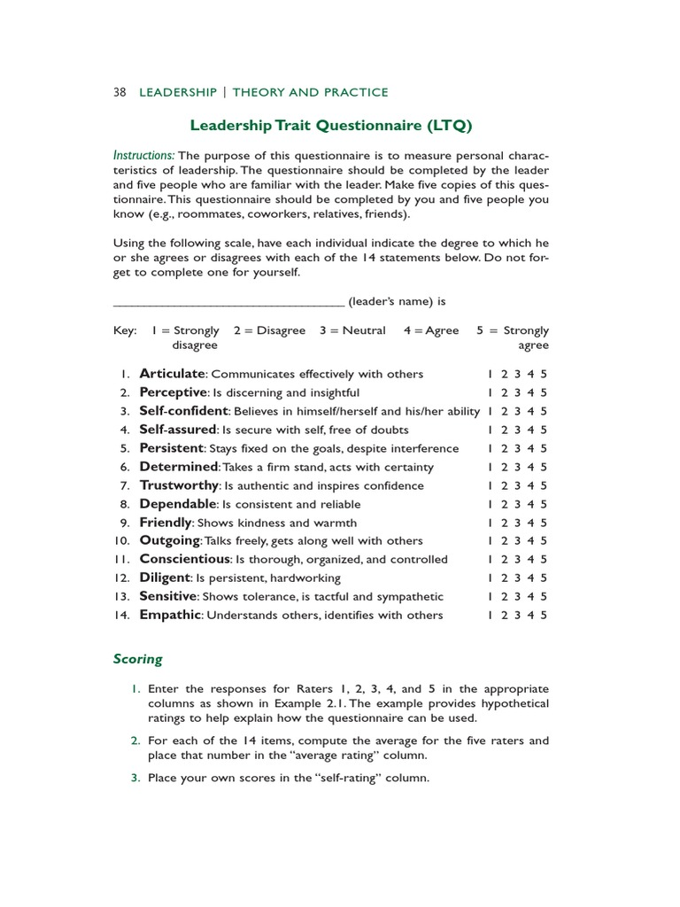 leadership trait questionnaire