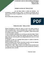 Reseñas de la visita de Mónica Rocríguez al Ceip Frian-Teis