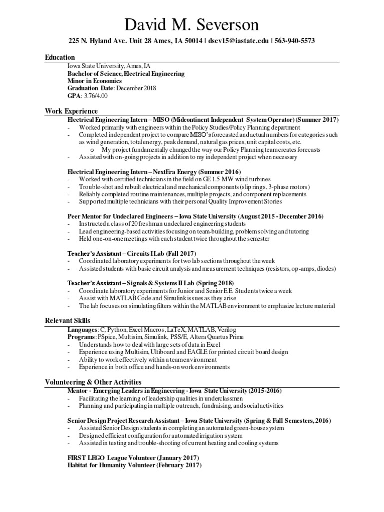Resume Davidseverson Electrical Engineering Op Amp Difficulty Solving Problem
