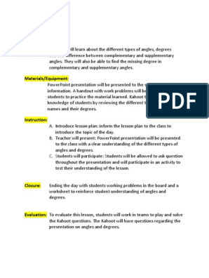 Angles & Degrees: Objectives: Students will learn about the