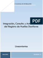 Lineamientos Para La Integración, Consulta y Actualización Del Registro de Huellas Dactilares