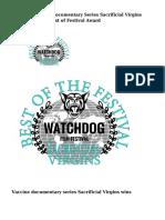 Gardasil Vaccine Documentary Series Sacrificial Virgins wins Australian Best of Festival Award