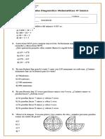 Prueba de Diagnostico 4º Basico