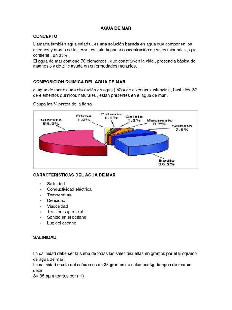 componentes quimicos del agua salada