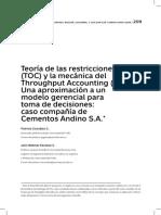 Teoria de Las Restricciones Toc y La Mecanica Del Throughput Accounting Ta Una Aproximacion a Un Modelo Gerencial Para Toma de Decisiones Caso Compania de Cementos Andino s a