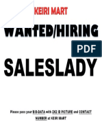 Wanted Labor Saleslady Keiri Mart
