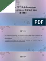 Aspek CPOB Dokumentasi Berdasarkan Eliminasi Dan Validasi