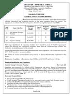 Advertisement No CMRL HR 10 2017 Application Form