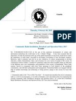 Community Radio Installation Broadcast and Operation Policy 2017 of Bangladesh Gazette ENGLISH Version
