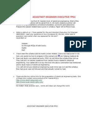 ASSISTANT ENGINEER EXECUTIVE FPSC Past Paper pdf