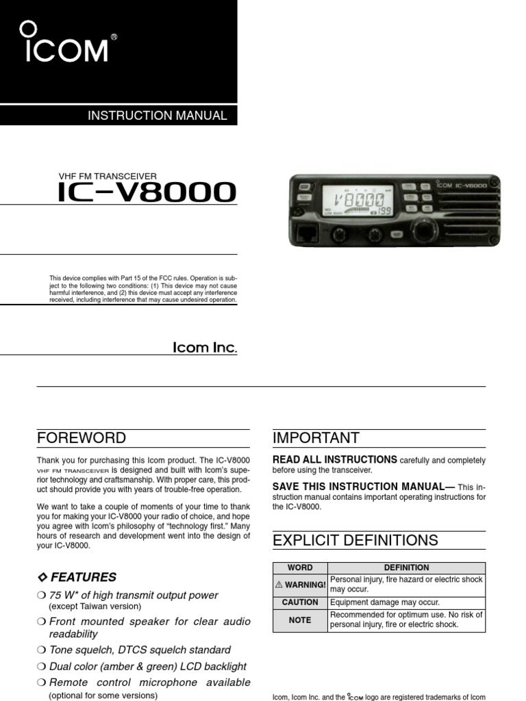icom ic v8000 instruction manual electrical connector power supply rh scribd com icom ic 7610 user manual icom user manual ev application