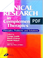 Clinical Research in Complementary Therapies Principles, Problems and Solutions