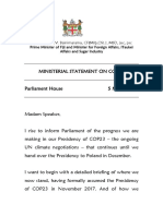 Fijian PM statement on presidency of UN climate talks