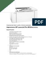 Impressora HP LaserJet Pro M102w(G3Q35A)